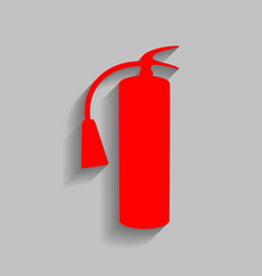 Fire extinguisher sign red icon with soft vector