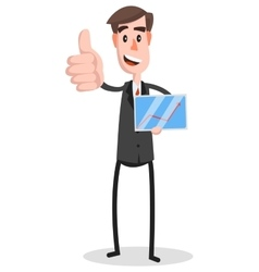 Flat businessman tablet thumb vector