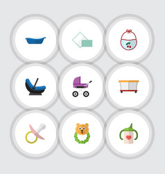 Flat icon kid set of rattle nipple napkin and vector