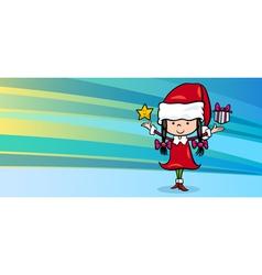 girl santa claus greeting card vector image