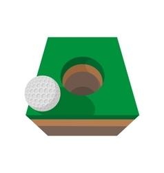 Golf ball on edge of hole cartoon icon vector image