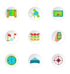 Gps icons set cartoon style vector