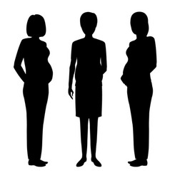 Group of three pregnant women black silhouettes vector