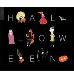 Halloween letetring card on black vector