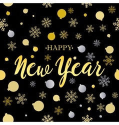 Happy new year gold glittering lettering design vector