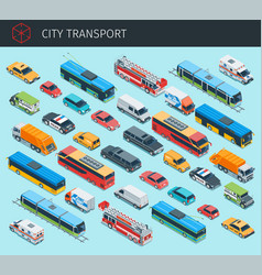 isometric city transport vector image vector image