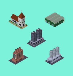 Isometric construction set of tower water storage vector