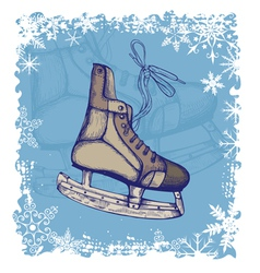 New year background with skates vector image