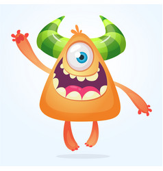 Orange cartoo monster smiling vector