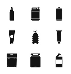 Pack icons set simple style vector