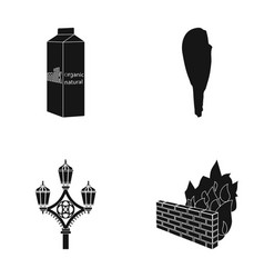 Products history and or web icon in black style vector