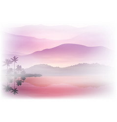 Purple background with sea and palm trees vector