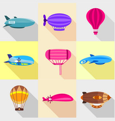 Retro dirigibles icons set flat style vector