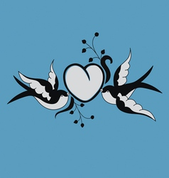 Romantic tatoon art design with swallow vector