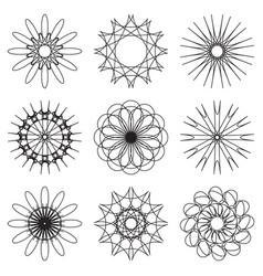 set of contour spirographic symbols vector image vector image