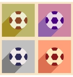 Set of flat icons with long shadow soccer ball vector
