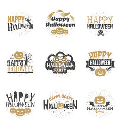 set of happy halloween badges or labels design vector image vector image