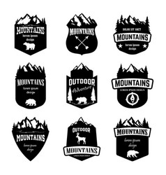 Set of mountains outdoor camping emblems design vector