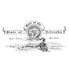 the united states seal of nebraska vintage vector image vector image