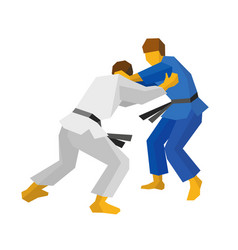 Two judo fighters in blue and white colors vector