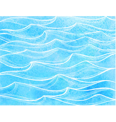 Watercolor sea waves vector