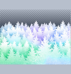 Winter landscape with icy frozen spruce forest vector