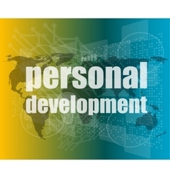 word personal development on digital screen 3d vector image vector image