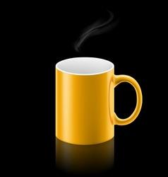 Yellow mug on black background vector image vector image