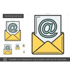 Incoming mail line icon vector