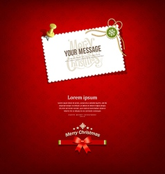 Merry christmas paper white card message vector