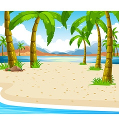 Beach scene with coconut trees vector image