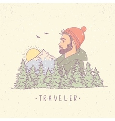 traveler mountain color vector image