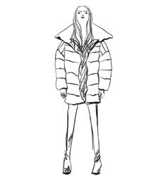 Sketch of woman wearing down jacket winter vector