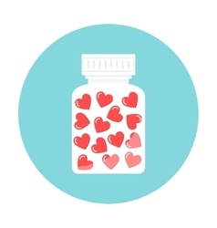 Heart pills in white container love therapy vector