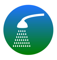 Shower simple sign  white icon in bluish vector