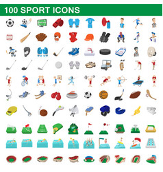 100 sport icons set cartoon style vector image