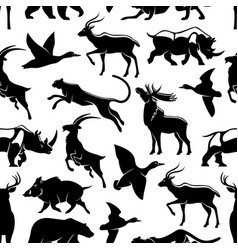 seamless pattern of wild animals and birds vector image