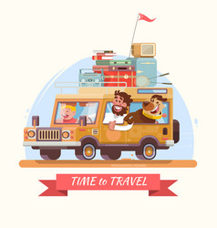 Family summer vacation orange car with suitcases vector