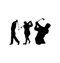 Golfer swinging vector