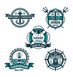 Nautical retro badge set marine heraldry design vector