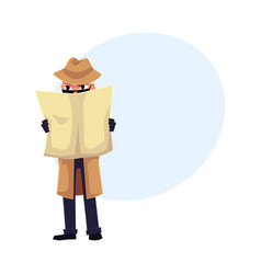 comic style detective character spying on somebody vector image