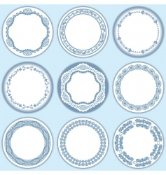 9 feminine blue labels set vector