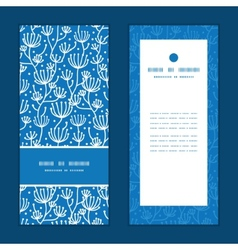 Blue white lineart plants vertical frame pattern vector