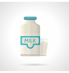 Milk bottle and glass flat color icon vector