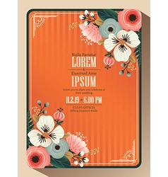Abstract floral wedding invitation card vector