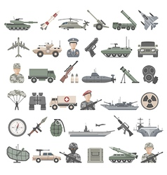 Flat icons military vector