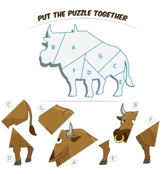 Puzzle game for chldren bull vector