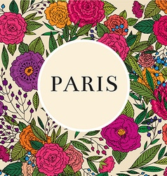Paris floral frame design vector