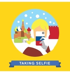 Take a photo selfie in moscow russia vector