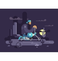 Cool biker on a motorcycle vector